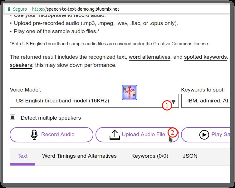 mp3 a texto en speech-to-text-demo.ng.bluemix.net y corrección con otranscribe.com