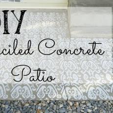 DIY Stenciled Concrete Patio - Weekend Yard Work Series