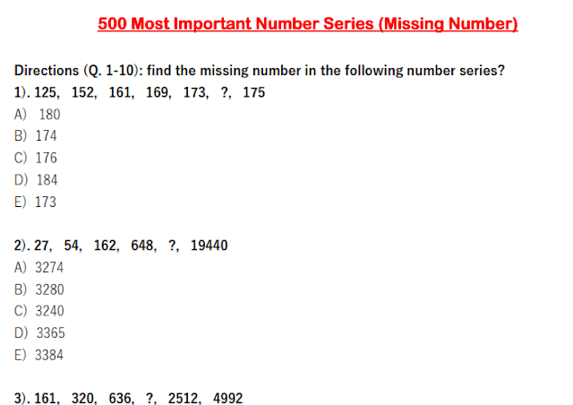 500 Most Important Number Series (Missing Number) with Solution for SSC and Banking Download PDF