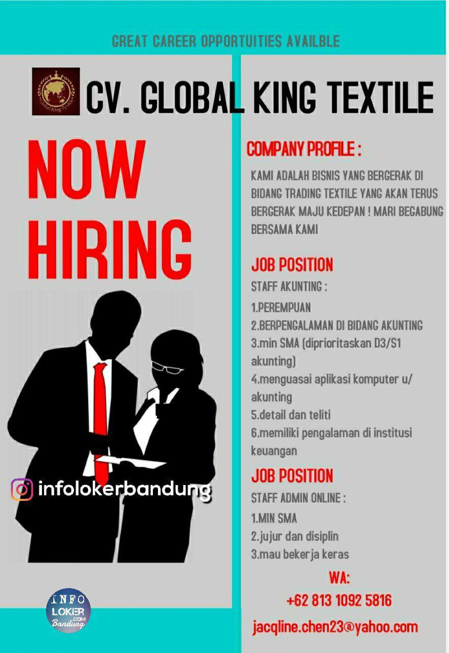 Lowongan Kerja Staff Akunting CV. Global King Textile Bandung Oktober 2018