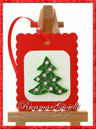 Segnalibri natalizi in quilling - Alberello addobbato
