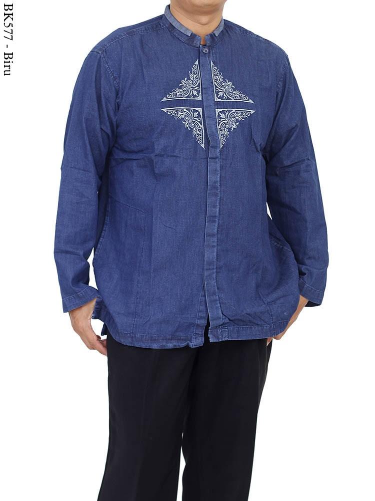 BK576 Baju Koko Eksklusif Jeans Bordir Albatar