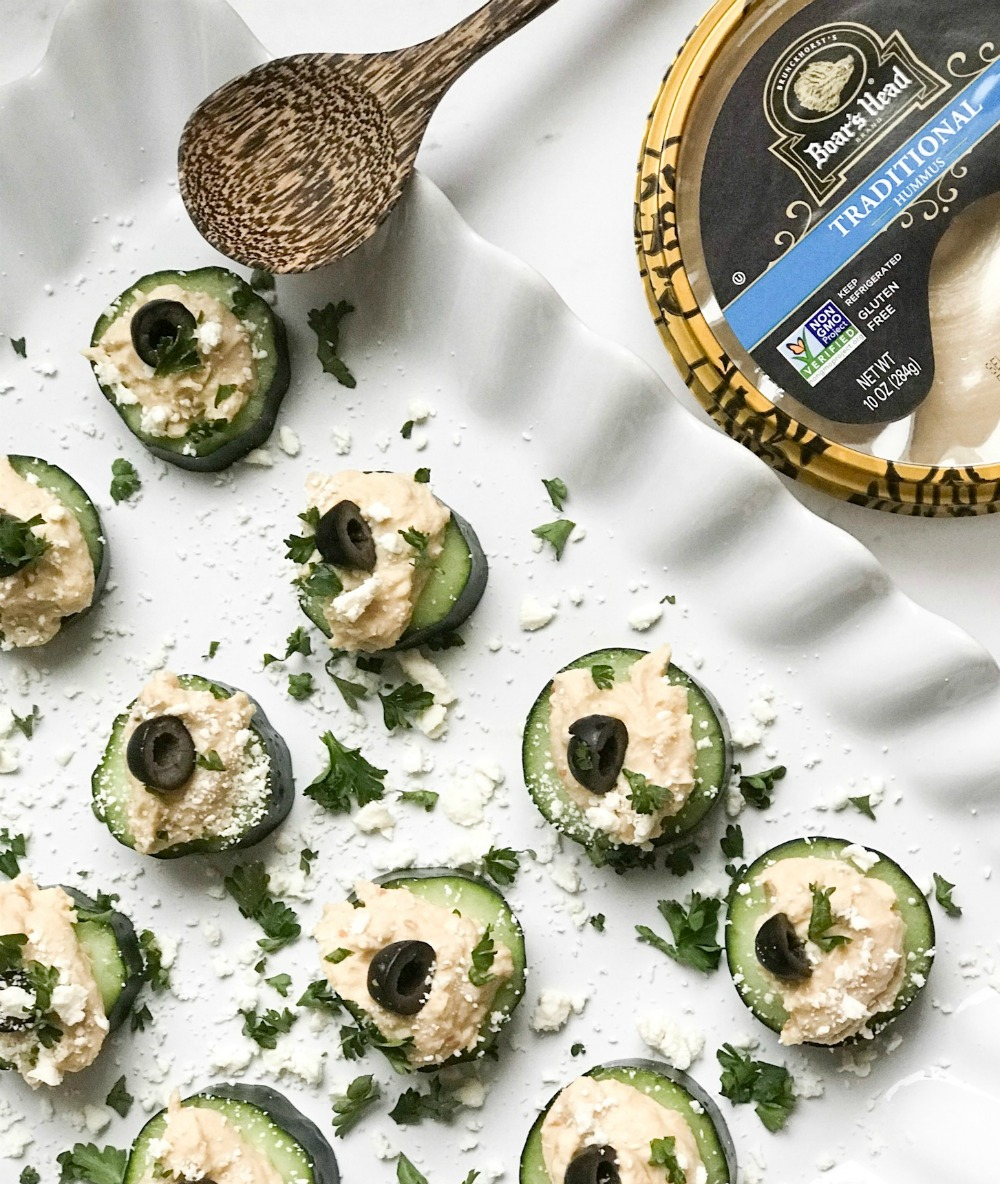 cucumber and black olive with hummus recipe