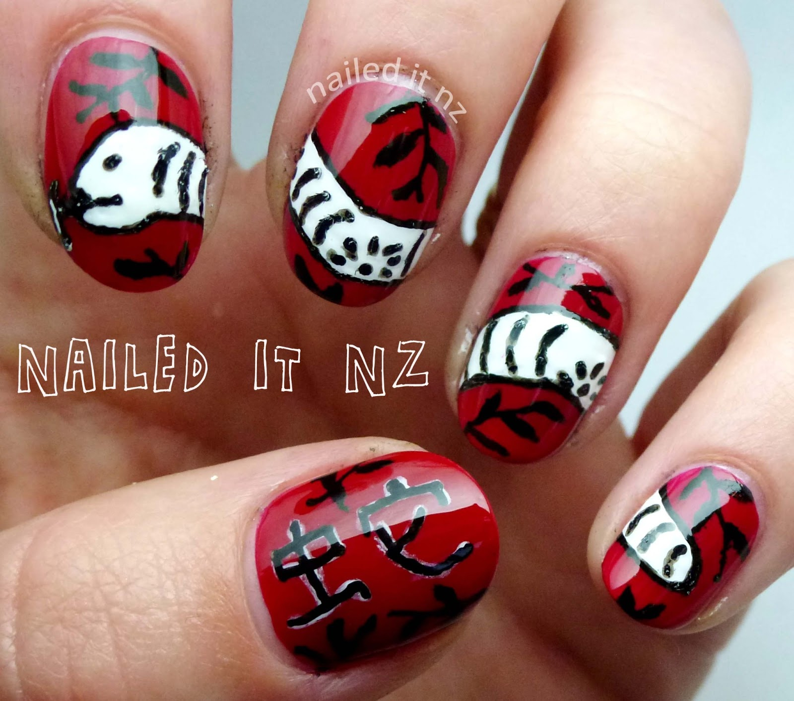 Chinese New Years nails - Year of the Snake!