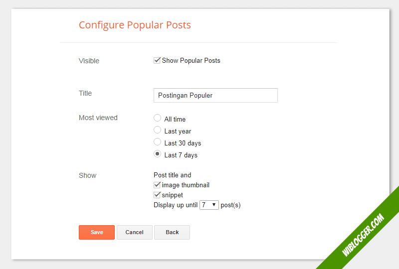 cara setting widget gadget postingan populer