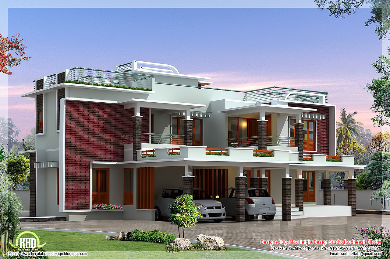 4500 modern unique villa design kerala home for Cool modern house plans