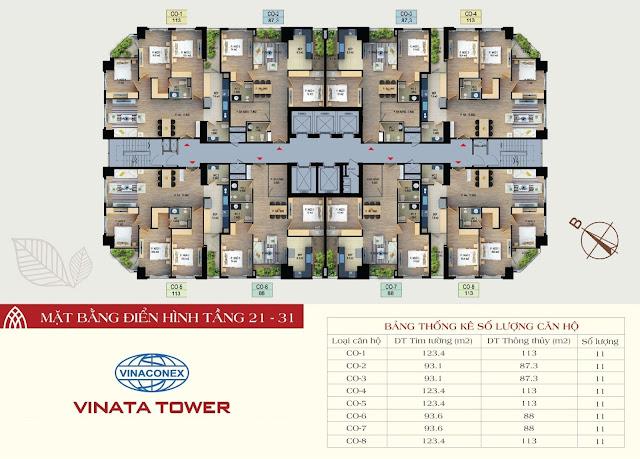 mặt bằng vinata tower tầng 21-31