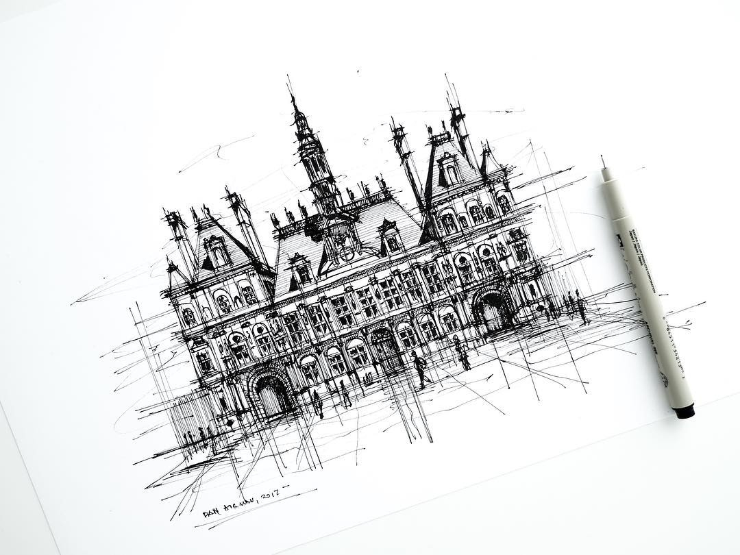 02-Hotel-de-Ville-Dan-Hogman-Urban-Sketches-of-Paris-in-France-www-designstack-co