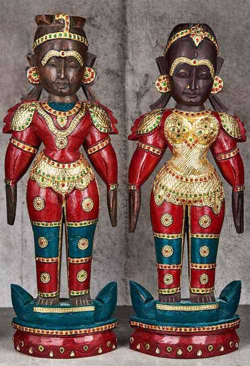 Wooden Couple Dolls of Navratri