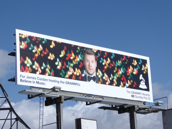 James Corden 59th Grammy Awards billboard
