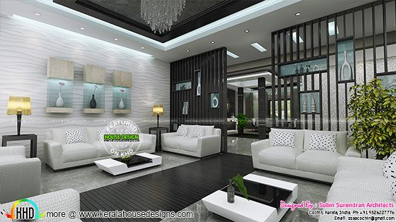Grand living room interior Kerala