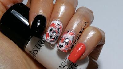 Drag Marble Swirl Nail Art - Needle Nail Art - Toothpick Nail Art - Orange, Black, White Nail Art
