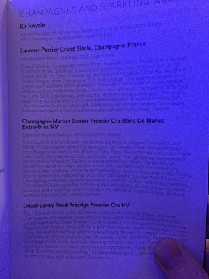 British Airways first class champagne menu from 2015