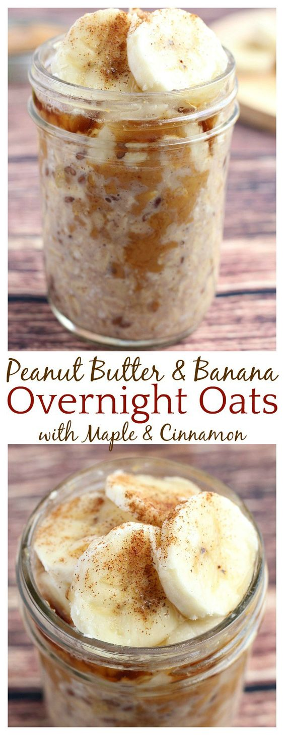 Peanut Butter and Banana Overnight Oats - Simply your mornings without sacrificing taste with these yummy Peanut Butter and Banana Overnight Oats! #Peanut #Butter #Banana #Overnight #Oats