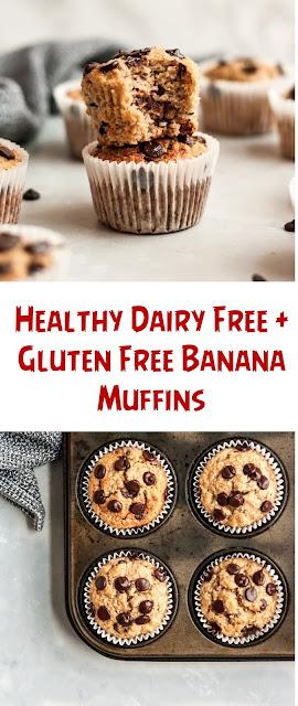 Healthy Dairy Free + Gluten Free Banana Muffins
