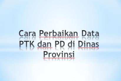 Cara Perbaikan Data PTK dan PD di Dinas Provinsi