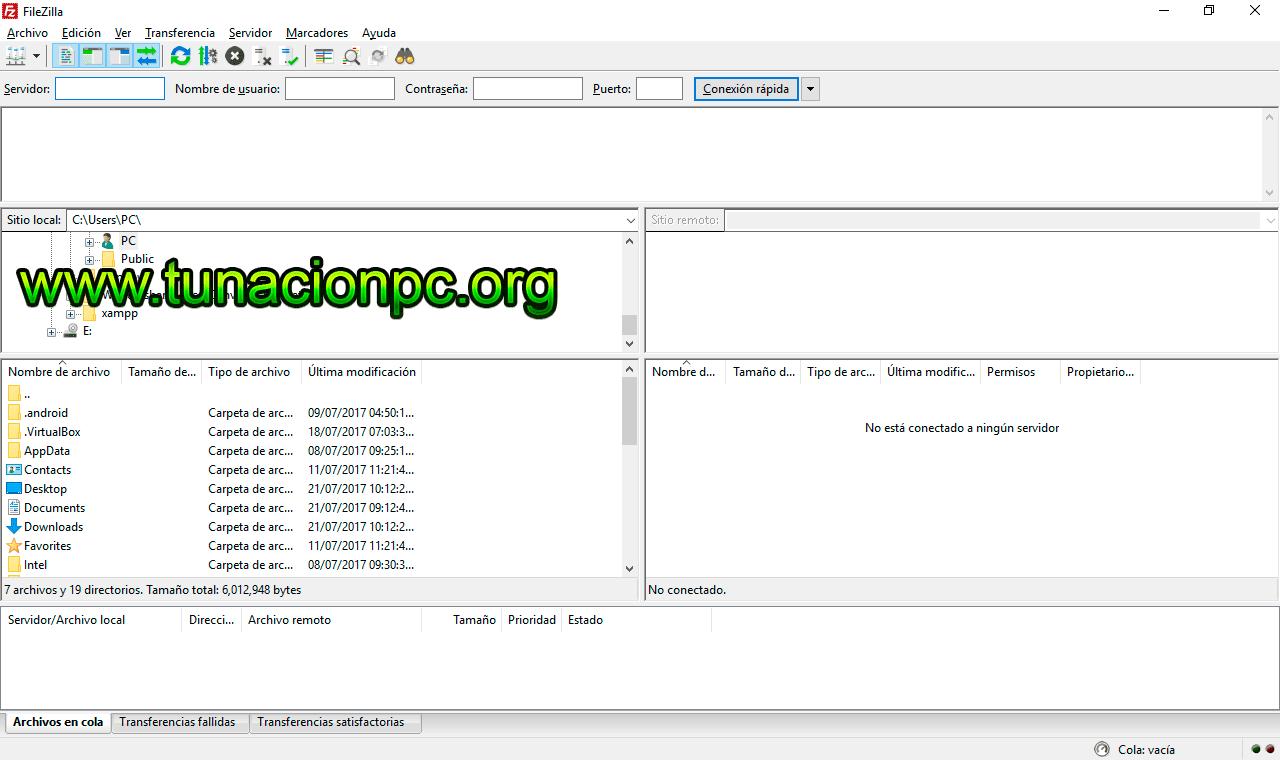 FileZilla sube archivos al servidor web