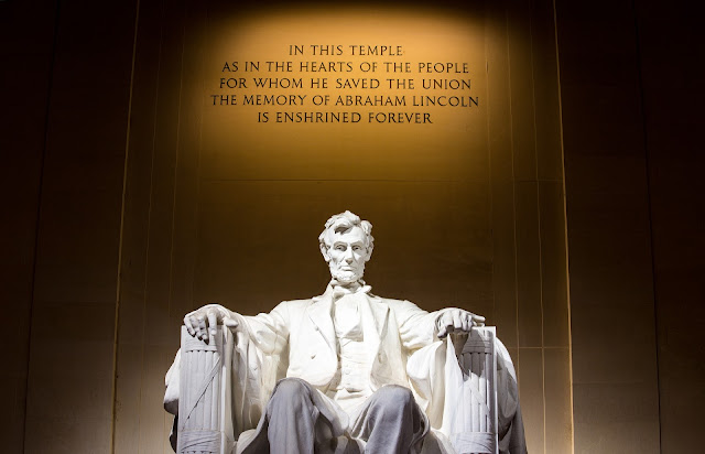American conservatism: Loss of democratic values in a Donald Trump- Abraham Lincoln monument in Washington dc