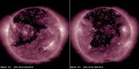 Dziura koronalna - zestawienie zdjęć z SDO w długości fali 211 angstremów wykonanych 27 września i 25 października 2016 roku. Strumień wiatru słonecznego przez nią emitowany osiągnął Ziemię dwukrotnie miesiąc po miesiącu, choć jego październikowe oddziaływanie okazało się znacznie wyraźniejsze i bardziej długotrwałe. Za sprawą zwiększenia rozpiętości dziury koronalnej strumień CHSS napływał na Ziemię niemal 5 dni. Credits: SDO
