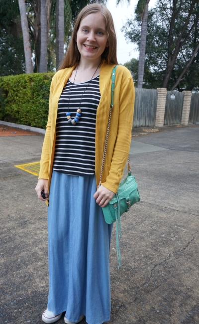 colourful winter chambray maxi skirt outfit striped tank mustard cardigan and aqua bag | awayfromblue