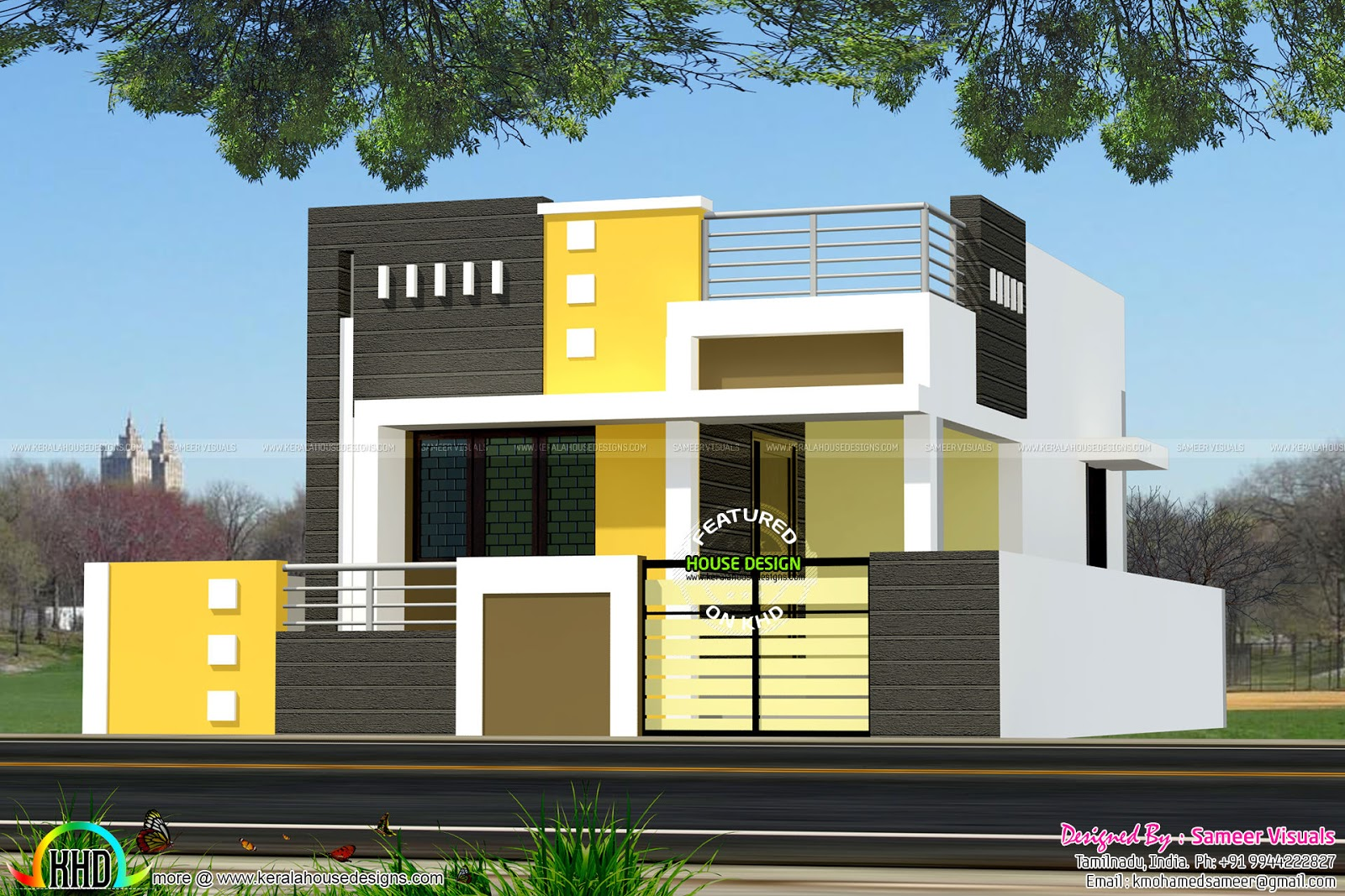 Single House Front Elevation Models : Square feet single floor tamilnadu home kerala