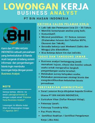 Lowongan Kerja di PT Bin Hasan Indonesia