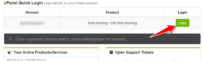 cPanel Quick Login Section