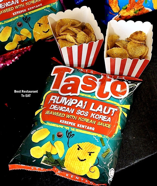 Tasto Potato Chips - Seaweed With Korean Sauce - Rumpai Laut Dengan Sos Korea
