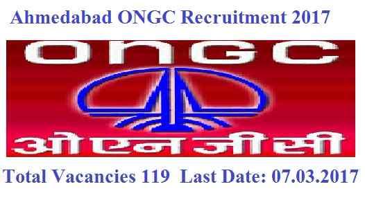 Ahmedabad ONGC Recruitment 2017 Ke Liye, 119 Apprentices Jobs hai Apply
