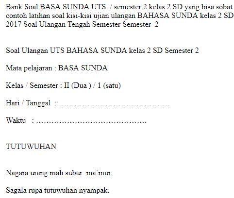 Soal Uts Bahasa Sunda Kelas 2 Sd Semester 1 Soal Sekolah