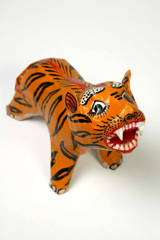 Papier mache tiger doll from India