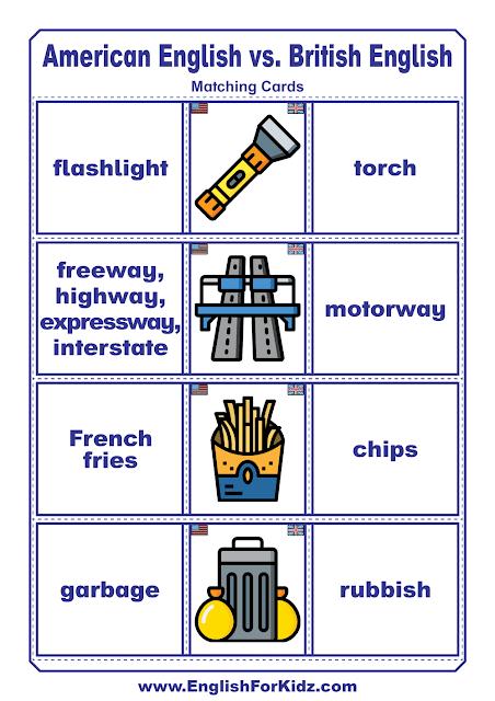 American English vs. British English - printable ESL worksheets and activities
