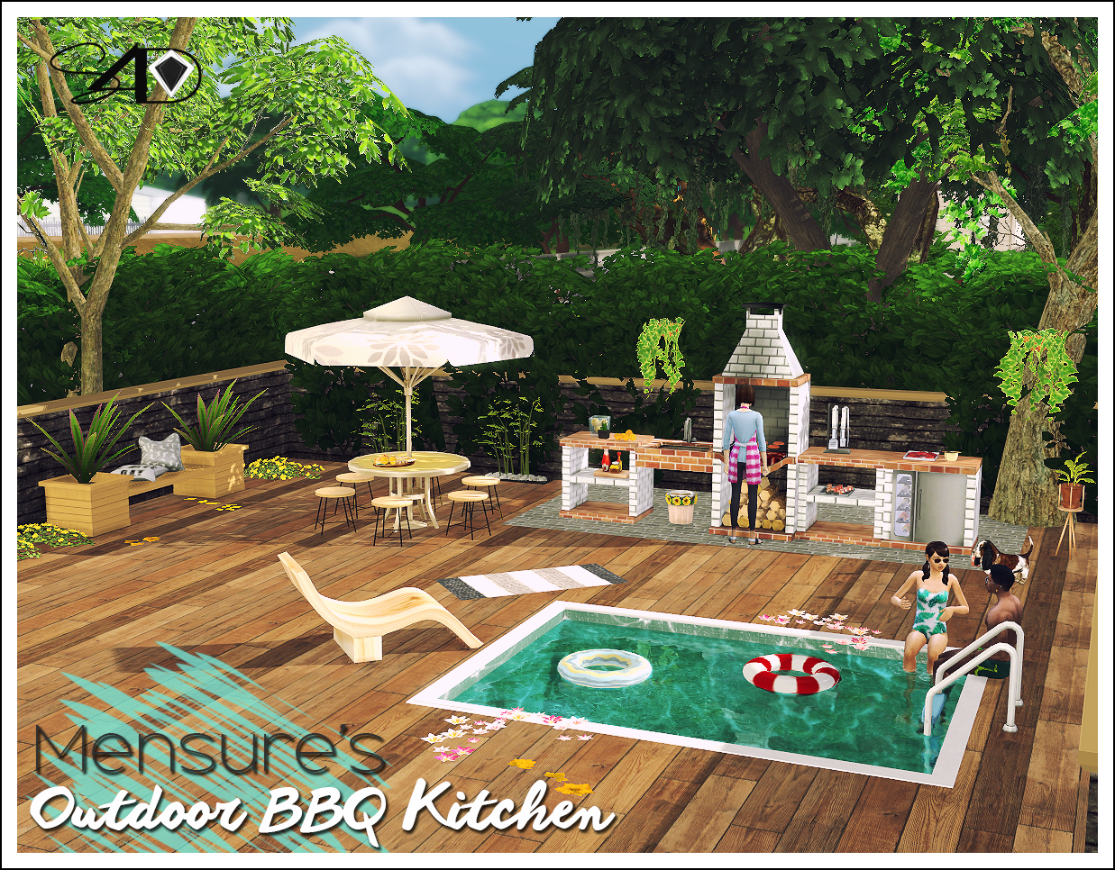 My sims 4 blog ts2 bbq outdoor kitchen set conversion by for Pool design sims 3
