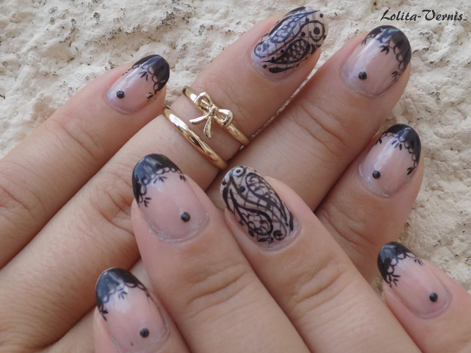 French Manucure Originale pour lolita-vernis nail-art: [nail-art #34] : french manucure baroque