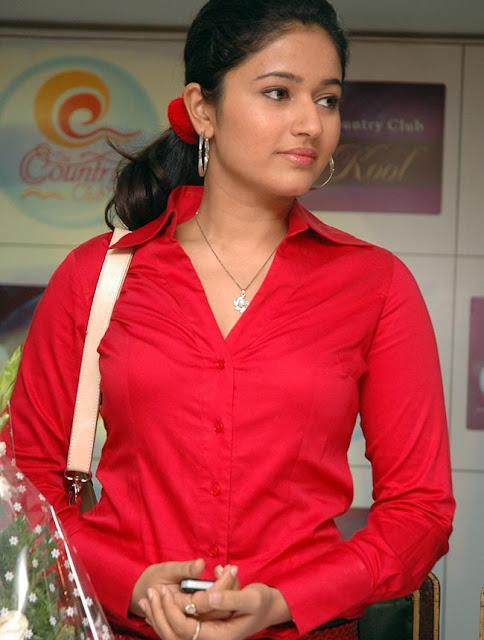 Indian Actress Poonam Bajwa Unbutton Red Shirt Black Bra -6573