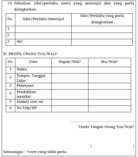 gambar 2 Formulir Pengenalan Lingkungan Sekolah Bagi Siswa Baru