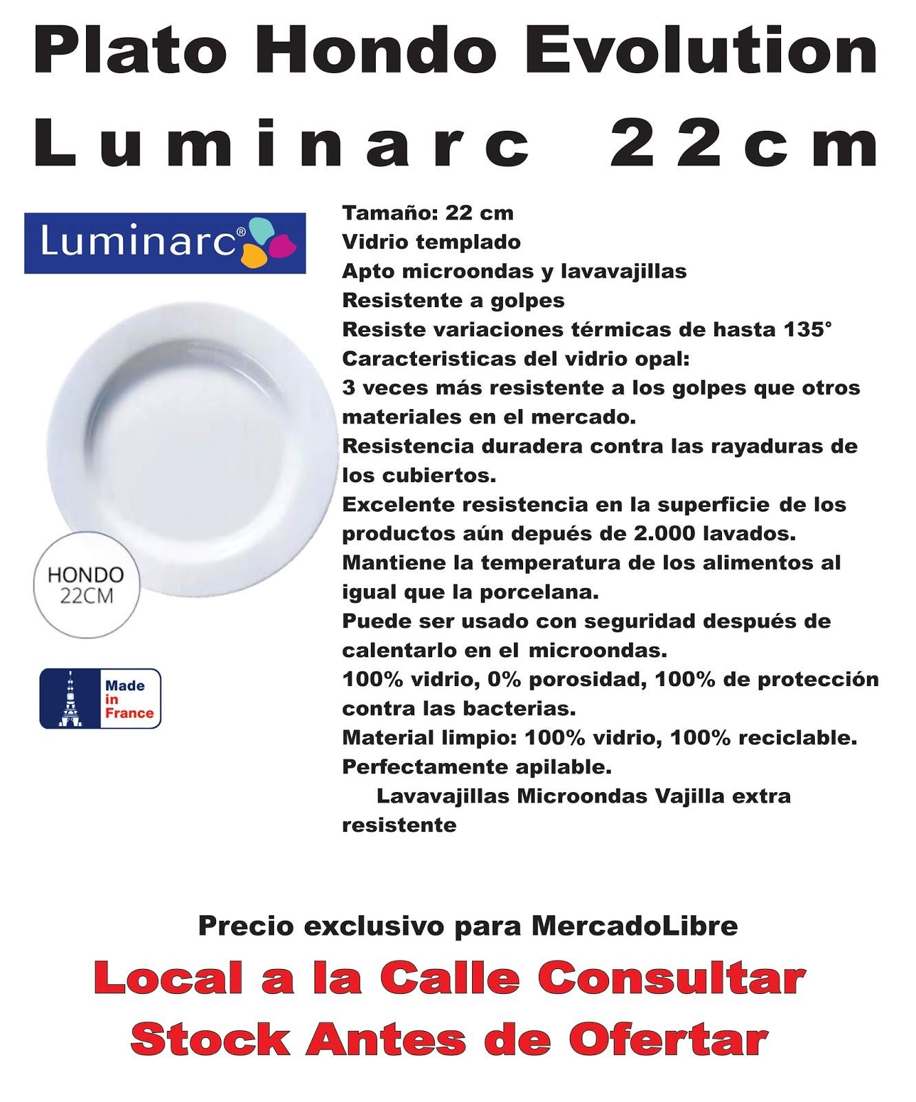 Plato playo luminarc evolution 27cm vidrio templado 65 0 - Platos luminarc precios ...