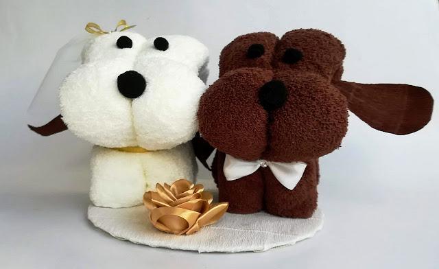 Pieski - kompozycja z ręczników na slub, rocznicę ślubu