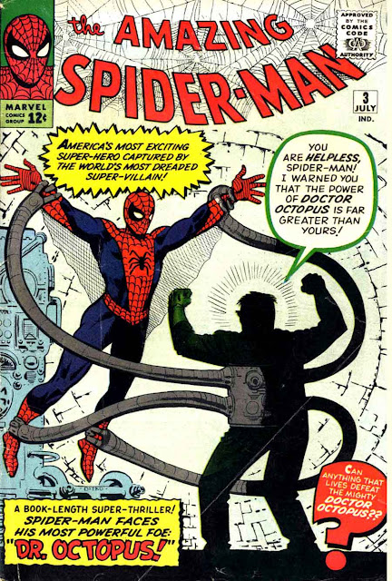Amazing Spider-man v1 #3, 1963 Marvel silver age comic book cover by Steve Ditko - 1st Dr. Octopus