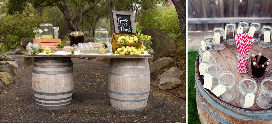 Whiskey Barrel Wedding Drink Stations