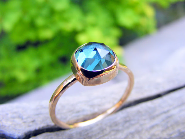 london blue topaz gold filled stacking ring