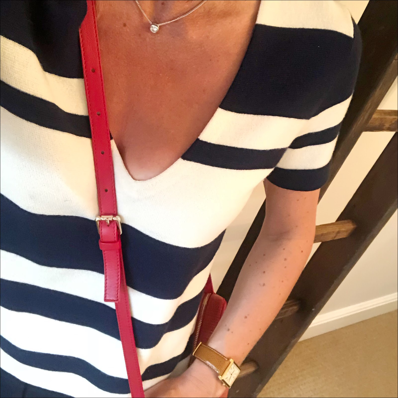 my midlife fashion, j crew striped short sleee knitted top, j crew cropped kick flare trousers, uterque mock croc cross body bag, j crew suede woven wedge sandals