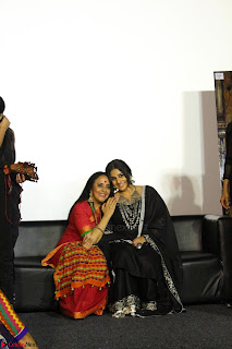 Vidya Balan with Ila Arun Gauhar Khan and other girls and star cast at Trailer launch of move Begum Jaan 002.JPG
