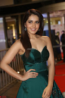 Raashi Khanna in Dark Green Sleeveless Strapless Deep neck Gown at 64th Jio Filmfare Awards South ~  Exclusive 097.JPG