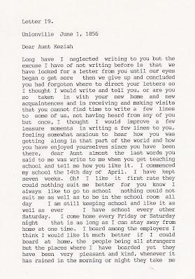 Pamela P Bennett's letter to Keziah (Bennett) Kimber June 1, 1856, page 1