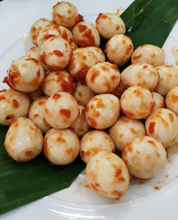 These are sambal quail eggs.