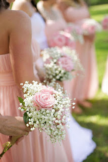 sweet pink rose and baby's breath bridesmaid bouquets for farm wedding theme