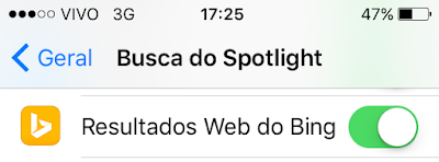 Resultados do Bing no Spotlight iOS 9 beta 4