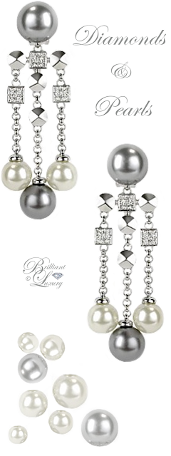 Brilliant Luxury ♦ AZ Collection Glass Pearl Drops Clip On Earrings