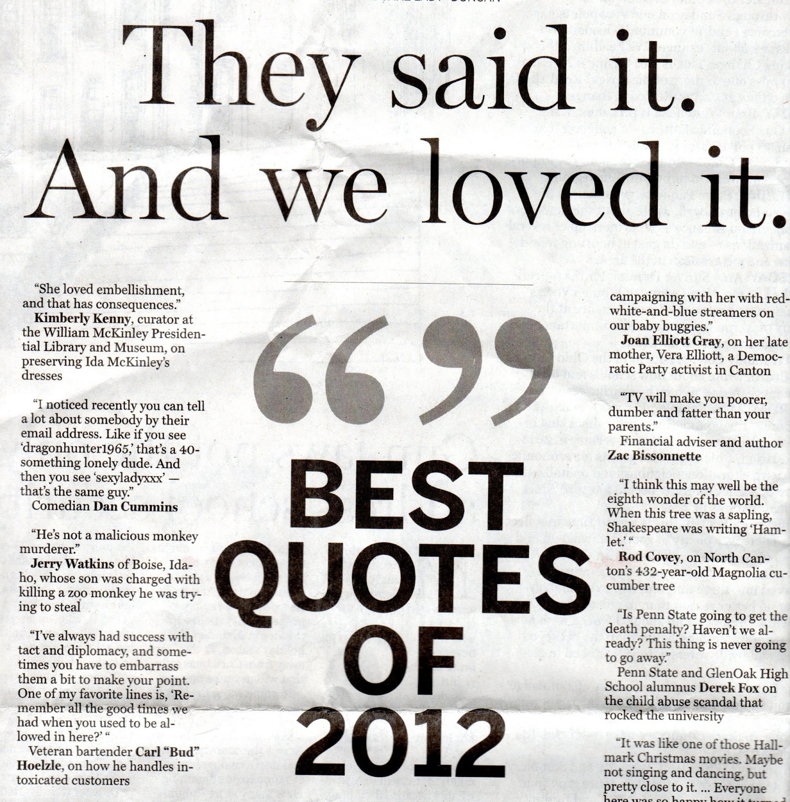 Best Quotes of 2012 I was excited to see myself listed in this Repository Love